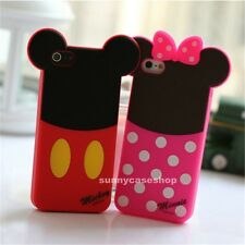 3D rubber Cartoon Bow Minnie Mickey Silicone Case cover for Apple iphone 5s 4G