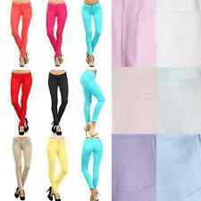 Women Slim Fit Cotton Solid COLORED Jeggings Ankle Stretch SKINNY PANTS Leggings