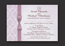 DAMASK PERSONALISED WEDDING DAY AND EVENING INVITATIONS WITH ENVELOPES