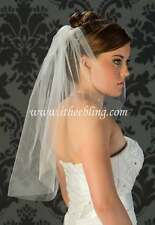 "Elbow Length Bridal Veil 1 Layer 25"" Long By Illusions Bridal Veils Cut Raw Edge"