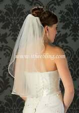 "Elbow Length Bridal Veil 1 Layer 25"" Long Illusions Bridal Rhinestone & Pearl"