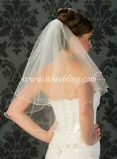 "Elbow Length Veil 2 Layer 25"" Long Illusions Bridal Circular Cut Pearl Edge"