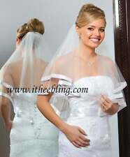 "Elbow Length Veil 2 Layer 25"" Long Illusions Bridal Circular Cut Ribbon Edge"