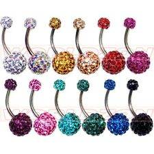 12 Color Crystal Double Ball Belly Bar Ear Navel Ring Stud Piercing 5/10mm Ball