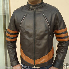 Xmen Wolverine Brown Black bikers leather jacket Custom Made X-Men XS S M L XL