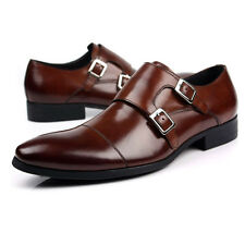 Classic New real leather men's Dress Formal shoes Double Monk Strap Loafer Brown