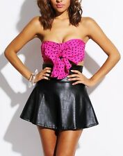 Adorable New Hot Pink & Black Polka Dot  Bra Top Night Day Party Belly Blouse