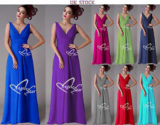 New V-Neck Chiffon Evening Formal Party Ball Gown Prom Bridesmaid Dress