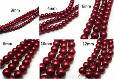 3MM/4MM/6MM/8MM/10MM/12MM Glass Pearl Czech Round Loose Spacer Beads Red Wine