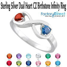 January Dual Heart CZ Birthstone Infinity Sterling Silver Ring Mix Stones!!