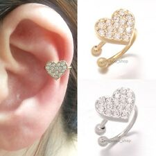 Swarovski Crystals Pave Love Heart Brass Gift Ear Clip On Cuff Earring 1pcs