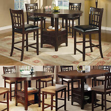 CAPPUCCINO Cherry Storage Counter Height Leaf Pub Table Chair Dining Kitchen Set