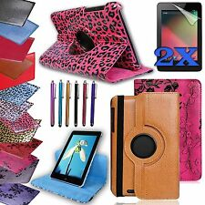 """For Google NEXUS 7"""" 1st gen Tablet Rotating Leather Cover Case Accessory Bundle"""