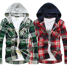 Men's Personality Fashion Casual Long-Sleeved Slim Knitted Hooded Plaid Shirt