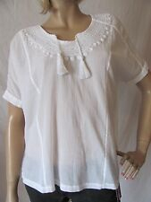 New LUCKY BRAND Womens White S/S Embroidered Tassels Ambrosio Top Shirt $79