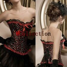 Sexy Red Cherry Print Lace Up Boned Corset Top Overbust Basques lingerie S-2XL