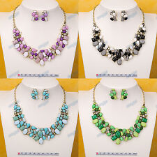 4-Colors 18K Gold Plated Chain Bib Statement Collar Necklace Earrings Set XL196
