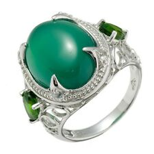 8.62 Ct 12x16mm Oval Green Chalcedony and Chrome Diopside Sterling Silver Ring