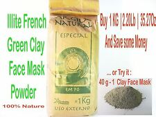 100% Natural French Green Clay Illite Powder Face Mask for Beauty and Skin Care