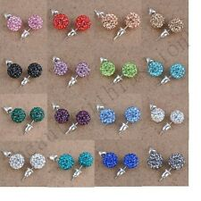 Shiny Austrian Crystal Pave Disco Clay Ball Beads Stud Charms  Earrings 10 mm