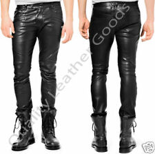 NEW GENUINE LEATHER POLICE MILITARY UNIFORM THIGH FIT JEANS & SHIRT WITH OPTIONS
