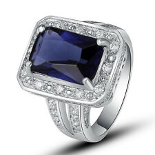 Sapphire Quartz White Topaz Gemstones Silver Ring Noble Jewelry Size 7 8 9 10