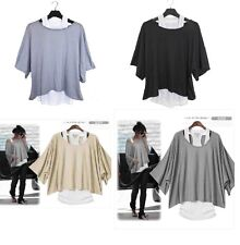 Womens 2in1 Style New Loose Batwing Sleeve Tops Blouses T-shirt Fit UK Size 8-18