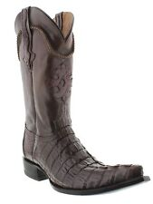 Men's brown crocodile alligator genuine tail cut cowboy boots pointed toe