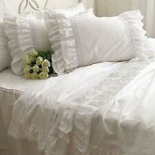 Shabby and Vintage White Embroidery Lace Ruffle Duvet Cover Bedding Set 1122