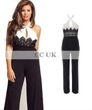 Celebrity Jumpsuit Catsuit  Lace Halter Black White UK Size 6 - 18