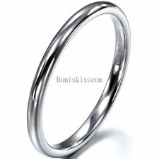 2mm High Polished Silver Tungsten Carbide Ring Dome Engagement Wedding Band