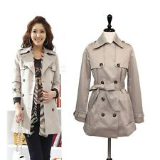 Korean Fashion Jacket Women Double Trench Coat Beige Classic M,L KAHLUA