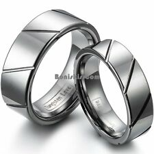 Tungsten Carbide Men's Ladies Ring Wedding Band Grooved Polished Comfort Fit