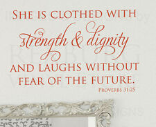 She Is Clothed With Strength Proverbs 31 25 Bible Wall Decal Vinyl Art Quote A52