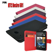 6 Colour Pu Leather Wallet Flip Case Cover For HTC Desire 601 + Screen Protector