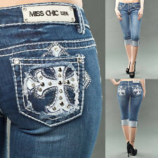 CASA BLANCA Miss Chic Overlap Cross Rhinestone Studded Dark Wash Bermuda B071