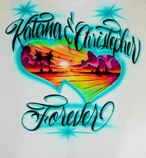 Airbrush T Shirt With Beach Scene, Beach Scene Shirt, Beach Shirt, Airbrush