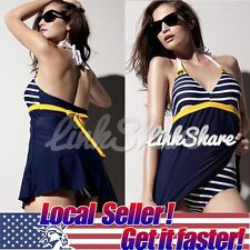 Sexy Women's Padded Blue Swimwear Push up Bathing Suit One Piece Bikini