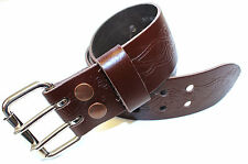 Brown Leather Utility Kilt Belt with Stag Design -Double Pronge Removable Buckle