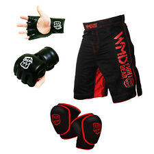 WMD MMA FIGHT GEAR UFC SHORTS KNEE GUARD PAD PROTECTOR GRAPPLING GLOVES SET