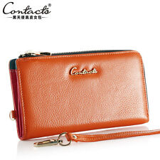 Women Genuine Leather  Continental Wallet Lady Clutches Phone / Card Coin Purse