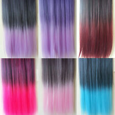 6 Colors Rainbow 60cm Long Straight Synthetic Hair Extension 5 Clip in on