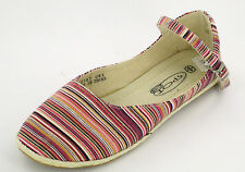 SALE Ladies spot-on pink muli- striped textile shoes with ankle strap F2187