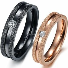 Dull Frosted Mens Black Ladies Gold Stainless Steel Couples Engagement Ring