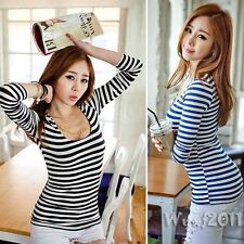 Sexy Womens Scoop Neck Long Sleeve Striped Slim Stretch Casual Tops T-Shirt Tee