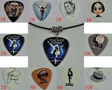 Michael Jackson Guitar Pick Necklace , Tibetan Silver Pendant Leather Cord