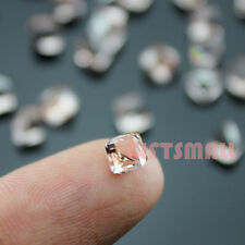 Pink 4mm Glass Beads Facet Square Cube Crystal Rhinestones 3D Nail Art For Metal