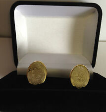THE PRINCESS OF WALES REGT CREST ENGRAVED CUFFLINKS, GOLD OR SILVER, NEW & BOXED
