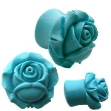 Ear Gauges Flared Turquoise Shrub Eden Rose Resin Organic Ear Plugs Ear Tunnels