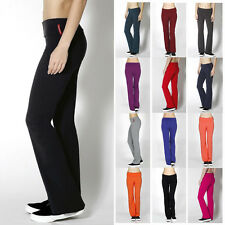 Foldover High Waist Yoga Pants Solid Athletic Gym Lounge Sweat Pants - S M L